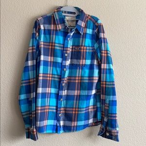 Hollister Blue and Orange Thick Flannel